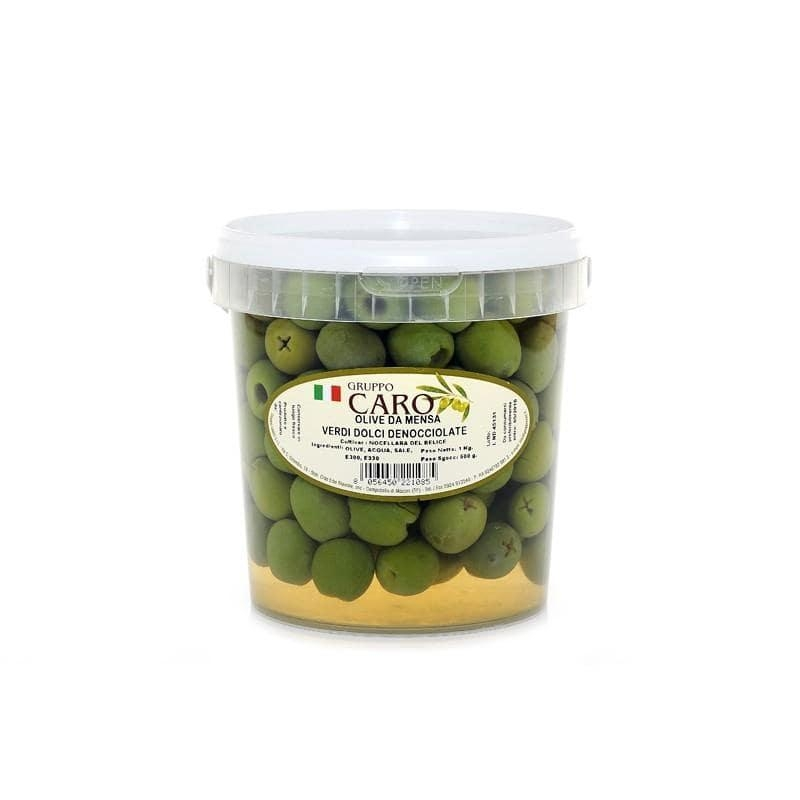 Pitted Nocellara marinated green olives in brine